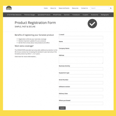 Sonatest Product Registration